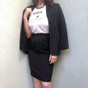 [vintage] navy striped high waist skirt suit set